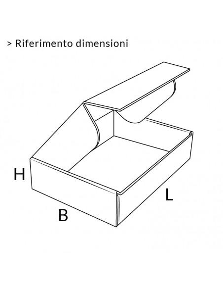 Riferimento dimensioni scatola automontante piatta avana